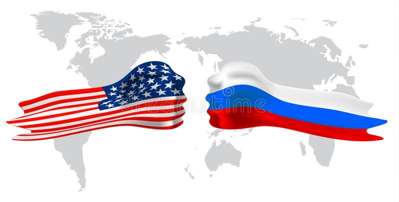 Russia vs America, fist flag on world map background. Vector royalty free illustration