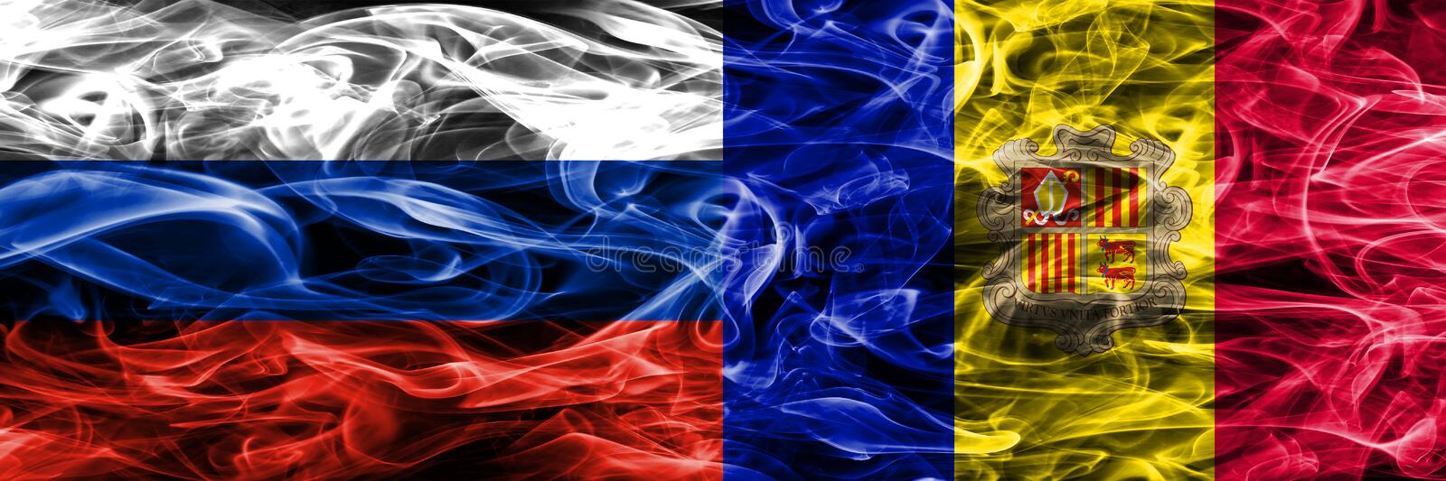 Russia vs Andorra smoke flags placed side by side.  vector illustration