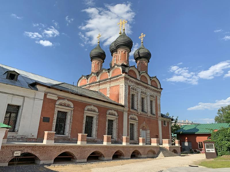 Russia. Vysoko-Petrovsky monastery in Moscow, the Cathedral in honor of Bogolyubskaya icon of the mother of God, 17th century.  stock images