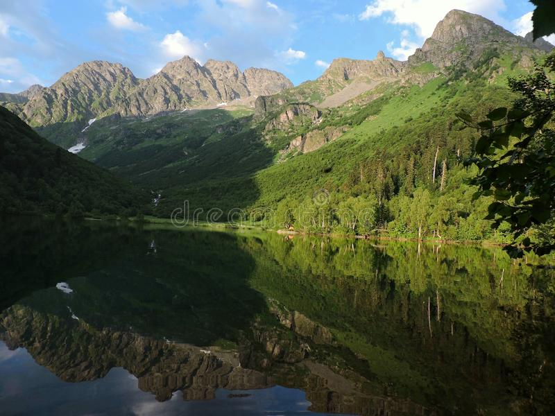 Russia, Western Caucasus. Lake Kardyvach stock images