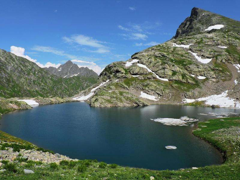 Russia, Western Caucasus. Lake Upper Kardyvach stock images