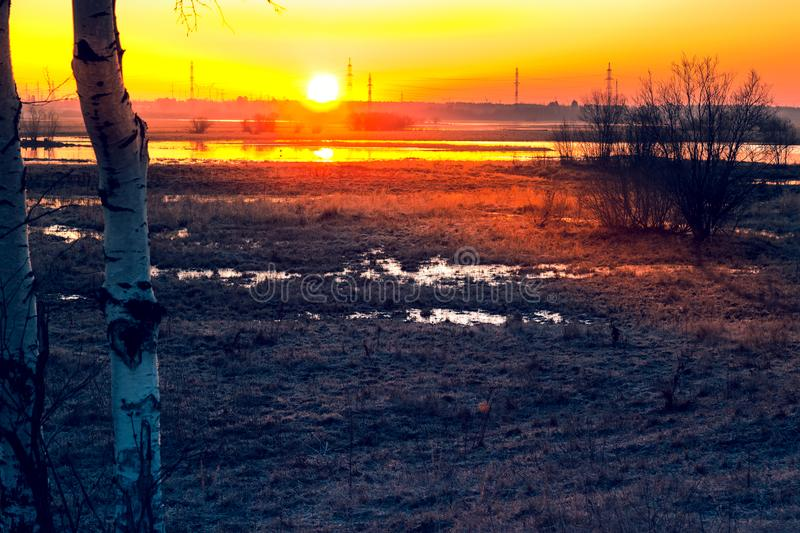 Sunrise over the channel. Russia Western Siberia dawn over the canal in May, birches in the foreground royalty free stock photography