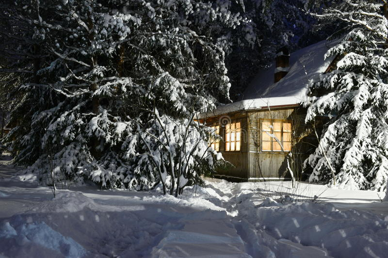 Russia. Winter evening after a Blizzard. stock photo