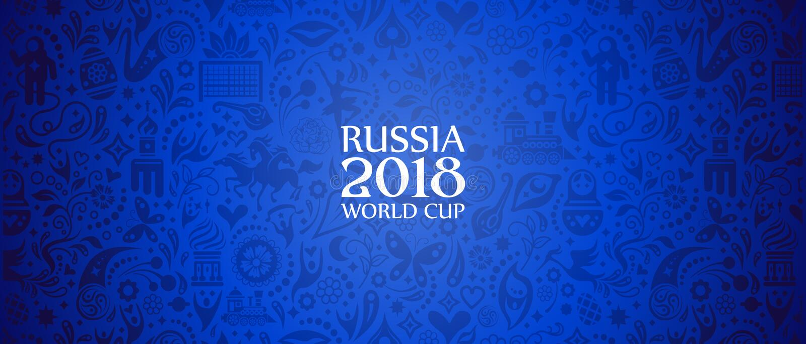 Russia 2018 World Cup banner. Illustration of an unofficial Russia Football World Cup 2018 banner background in a blue Russian themed pattern with white royalty free illustration