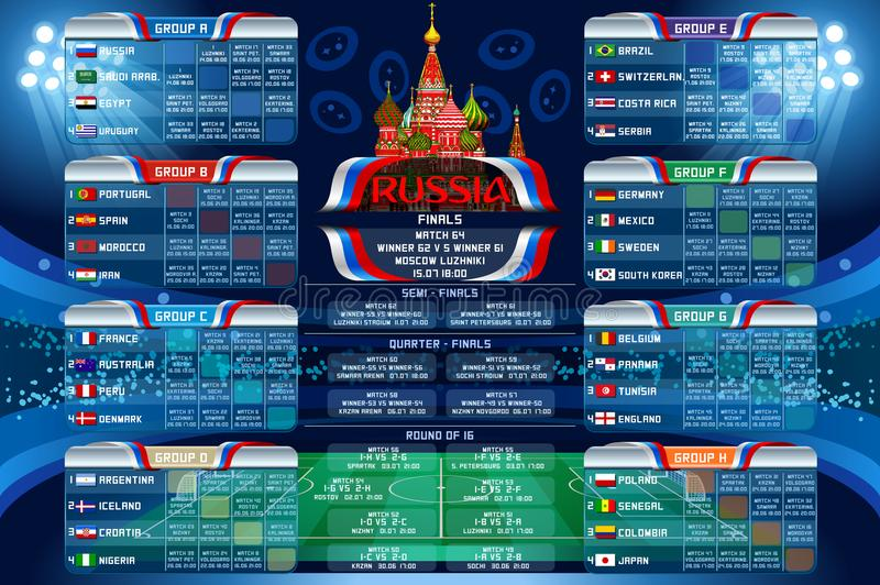 Russia World Cup Calendar Web Banner. Russia 2018 world cup calendar. Soccer schedule table template vector illustration. Final results with flags of countries
