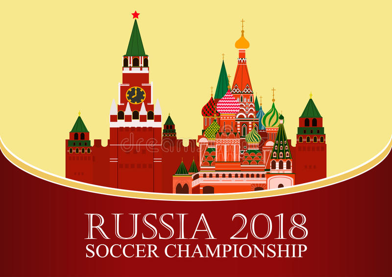 Download Russia 2018 World Cup. Football Banner. Vector Flat Illustration. Sport. Image Of Kremlin And St. Basil`s Cathedral Stock Vector - Illustration of match, game: 91001052