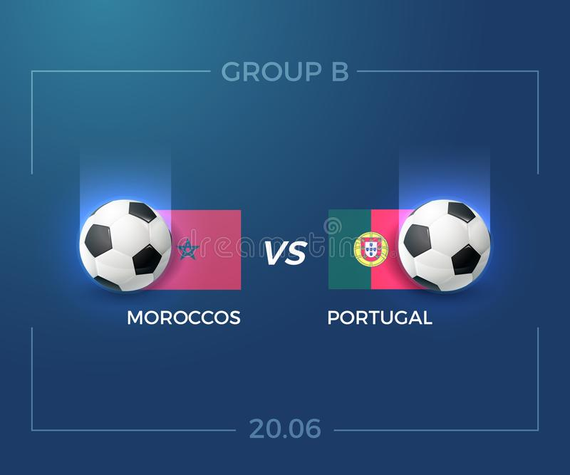 Russia World cup 2018 group B, Moroccos vs Portugal, 20 june. vector illustration
