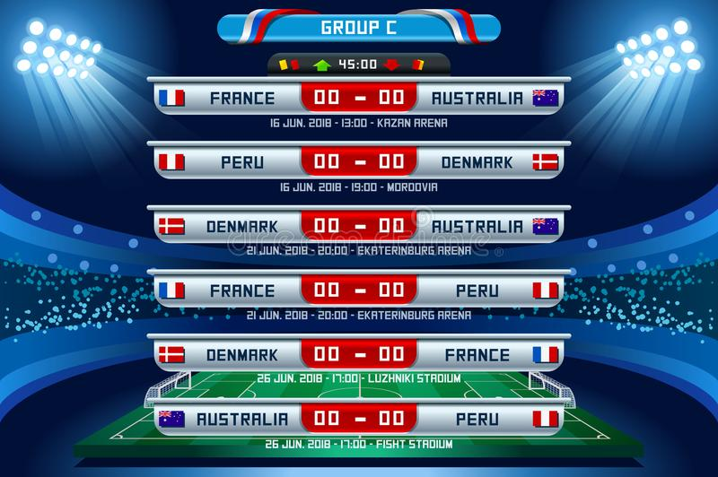 Russia World Cup Group C. Football world cup championship groups. Set of four different flag illustration. Vector flag collection. 2018 soccer world tournament stock illustration