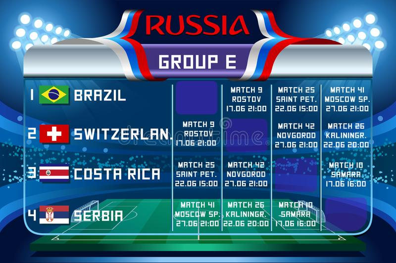 Russia world cup group e vector wallpaper stock illustration