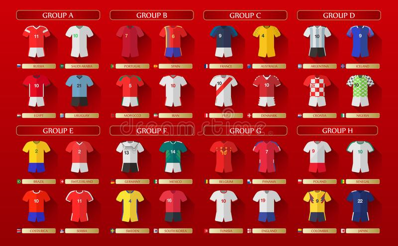 Russia World Cup Kits 2018. Russia World Cup kits for 2018 on a red background; countries are shown in lettered groups of A through H vector illustration