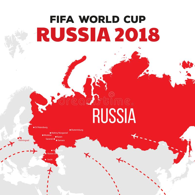 Russia world cup 2018. Illustration with map and cities of championship vector illustration
