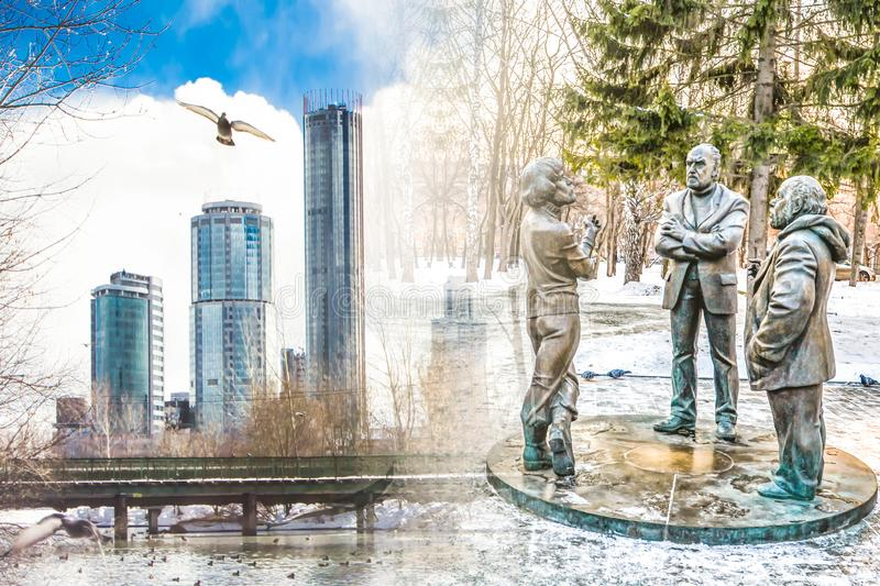 Russia. Yekaterinburg. Famous iconic places in the city . Winter city landscape . Russia. Yekaterinburg. Famous iconic places in the city . Winter city royalty free stock photography