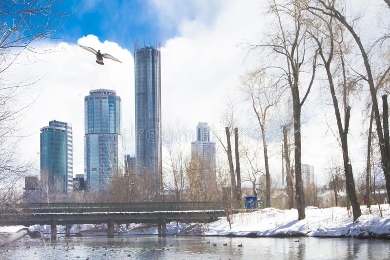 Russia. Yekaterinburg. Famous iconic places in the city . Winter city landscape . Russia. Yekaterinburg. Famous iconic places in the city . Winter city stock images