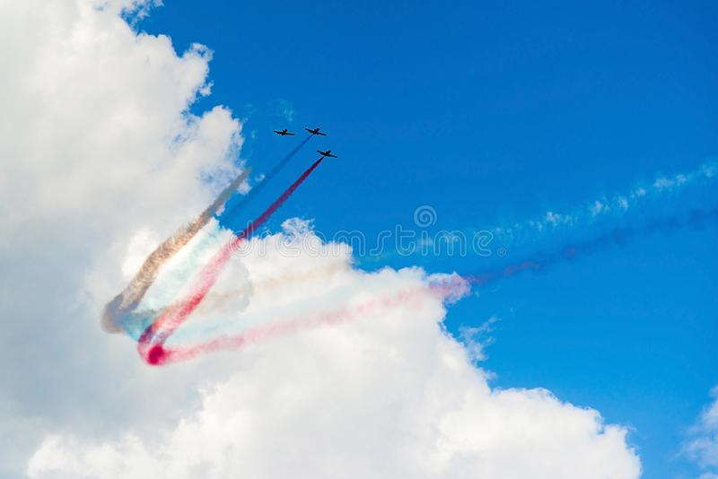 Russia, Zhukovsky, July 23, 2017: International Aviation and Space Salon MAKS-2017, fighter flights. royalty free stock images