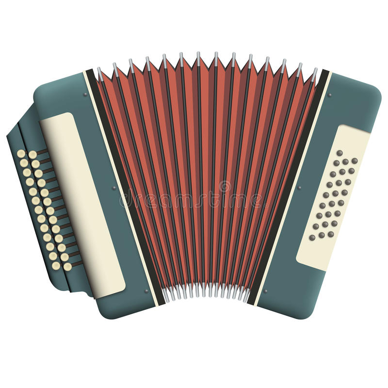 Russian accordion. With two rows of buttons royalty free illustration