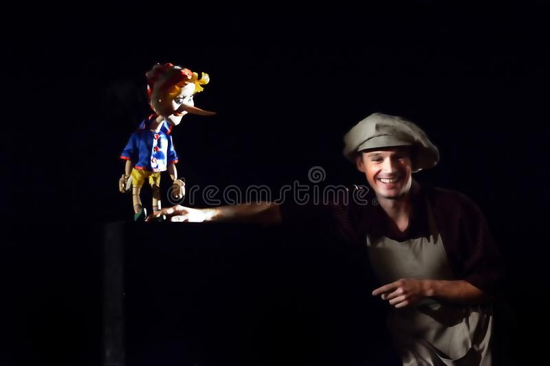 Russian actors and actresses on the stage of the puppet theater royalty free stock photos