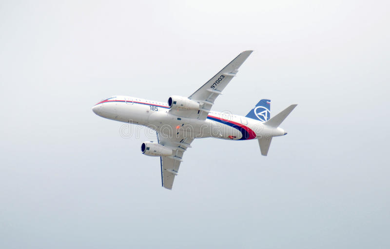 Russian airlpane superjet 100 royalty free stock image