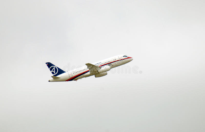 Russian airplane Sukhoi superjet 100 stock photos