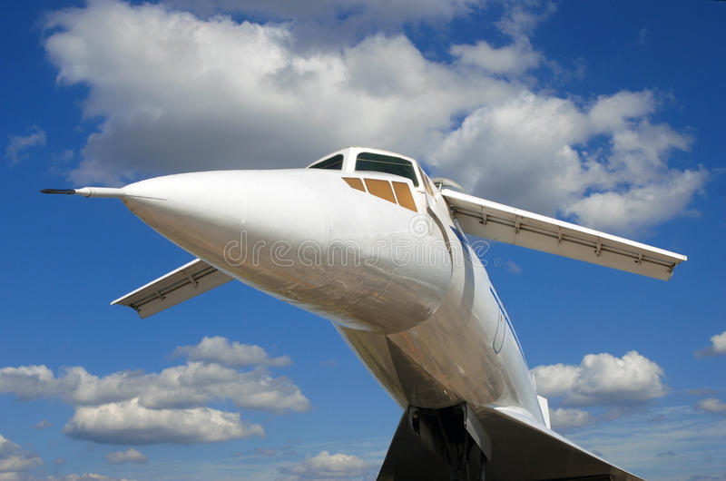 Russian airplane TU-144 under the blue sky royalty free stock photography