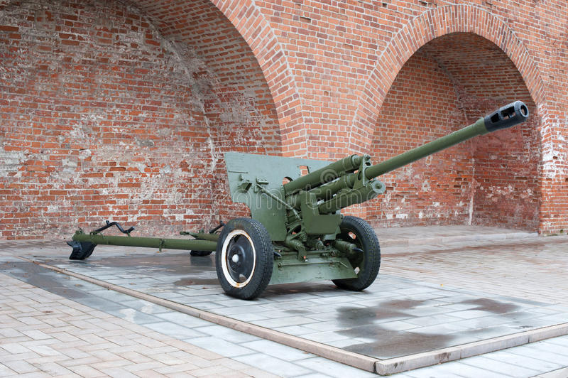 Russian anti-tank devision 57-mm gun of the Second World War. On background stock images