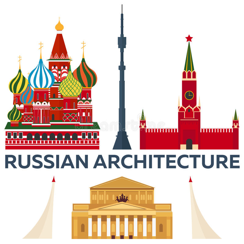 Download Russian Architecture Modern Flat Design St Basils Cathedral Kremlin