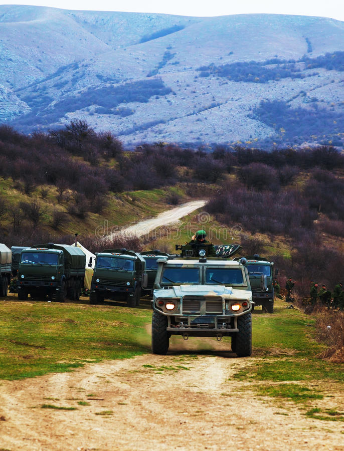 Russian armoured truck in Crimea, Ukraine stock image
