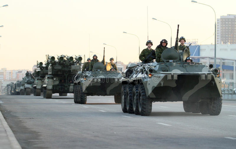Russian army military vehicles in downtown Moscow