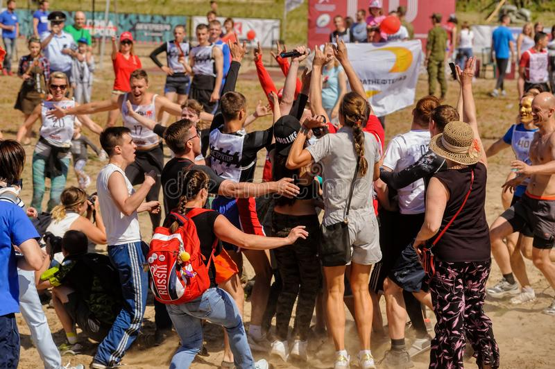 Russian army obstacle course race. Tyumen. Tyumen, Russia - July 5, 2017: Race of Heroes project on the ground of the highest military and engineering school stock photos