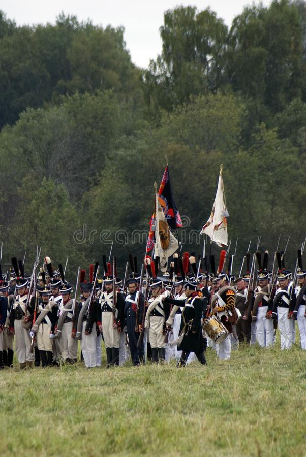Russian army soldiers at Borodino battle historical reenactment in Russia royalty free stock photo