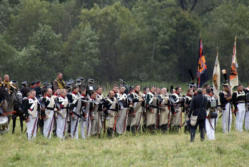 Russian army soldiers at Borodino battle historical reenactment in Russia stock photography
