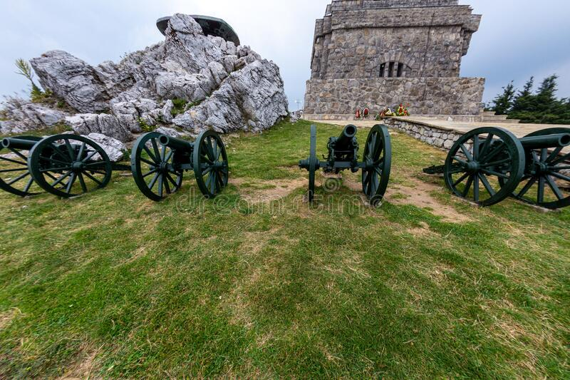 Russian artillery battery on the top of Mount Shipka in Bulgaria stock image
