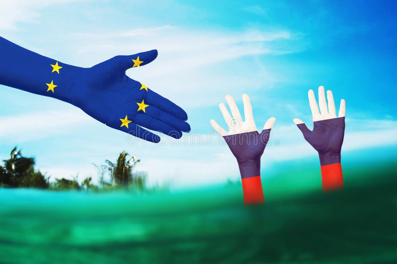 Russian assistance from the European Union in a difficult situation. International relations.  royalty free stock photo