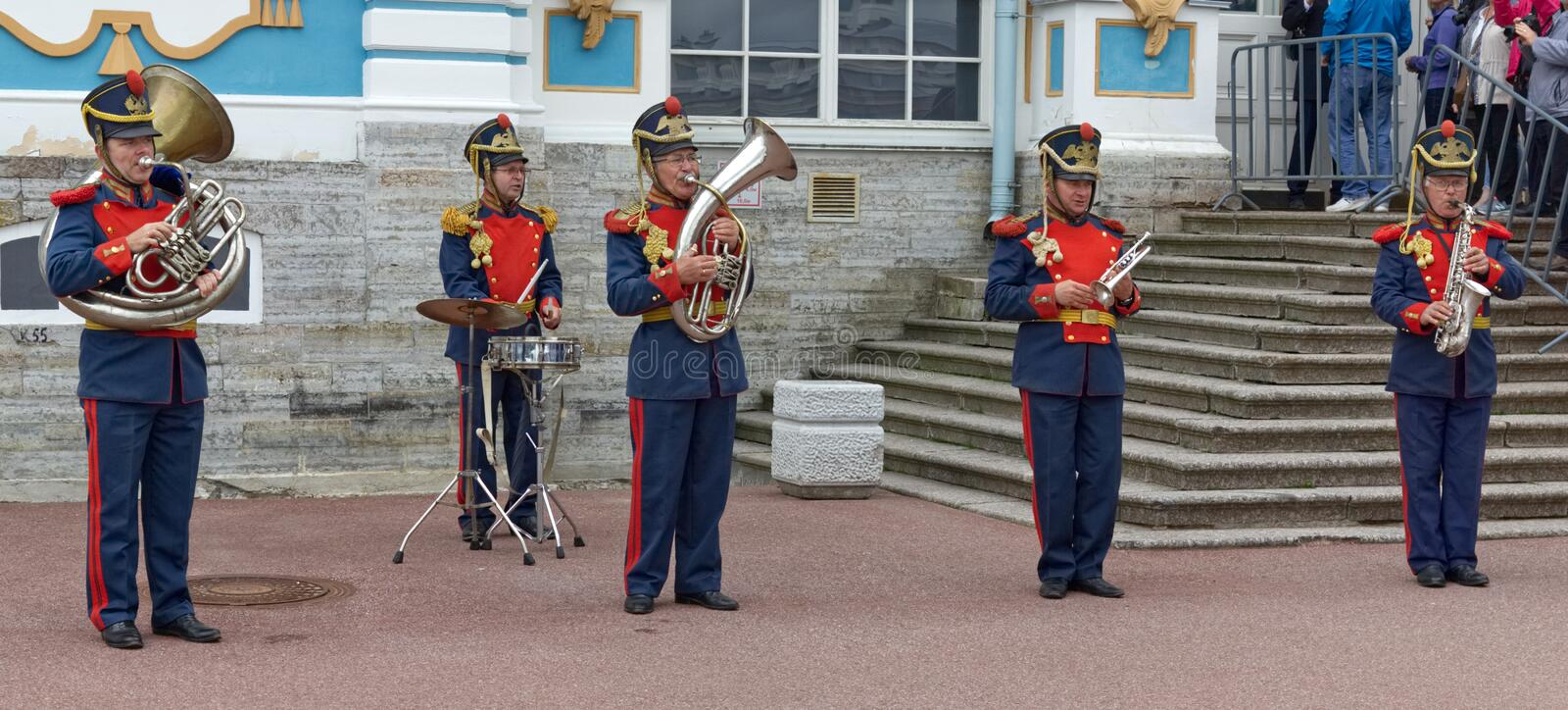Russian Band Playing in front of Palace stock image