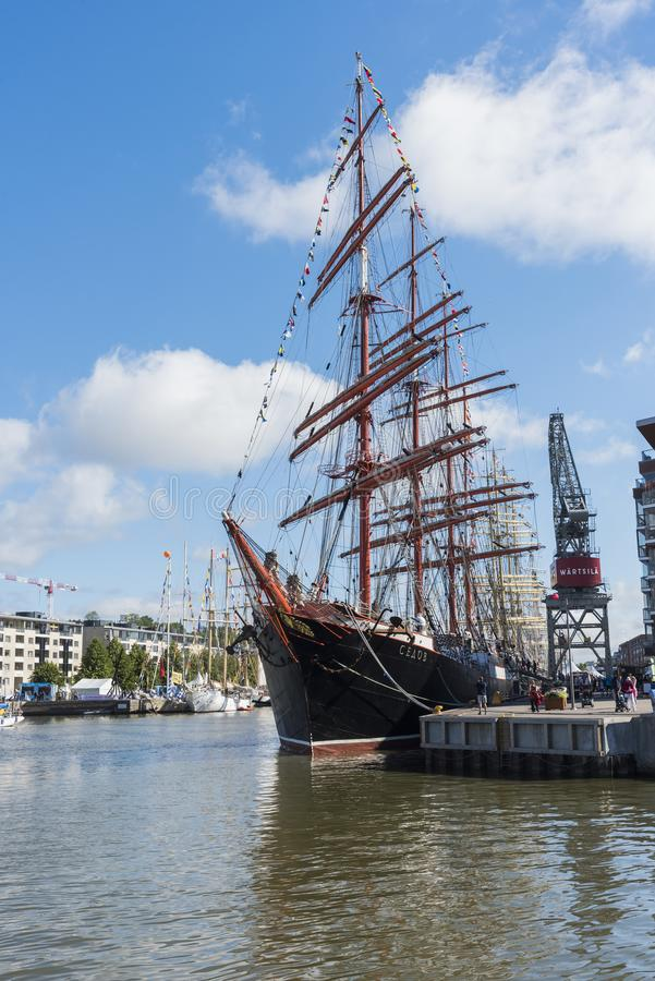 Russian barque Sedov moored in Turku royalty free stock photos