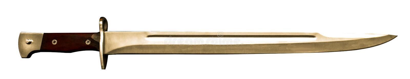 Russian bayonet for AK-47 or Kalashnikov automatic rifle on the black wood table royalty free stock photos