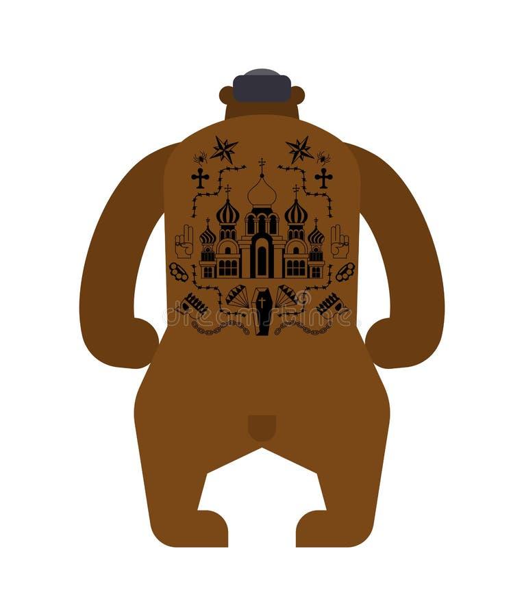 Russian Bear back prison tattoo. Russia sign Prisoner mafia tattooing. criminal animal stock illustration