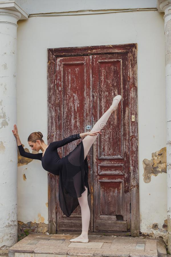 Russian beautiful young girl ballet dancer standing on pointe royalty free stock photo