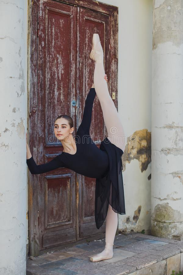 Russian beautiful young girl ballet dancer standing on pointe royalty free stock image