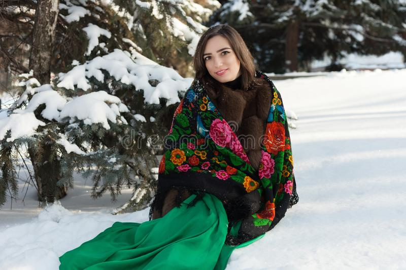 Russian beauty sits in the snow near the tree in the winter fore stock image