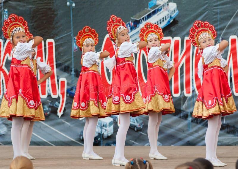 Russian beauty in Rodnichok folk groupe stock photo