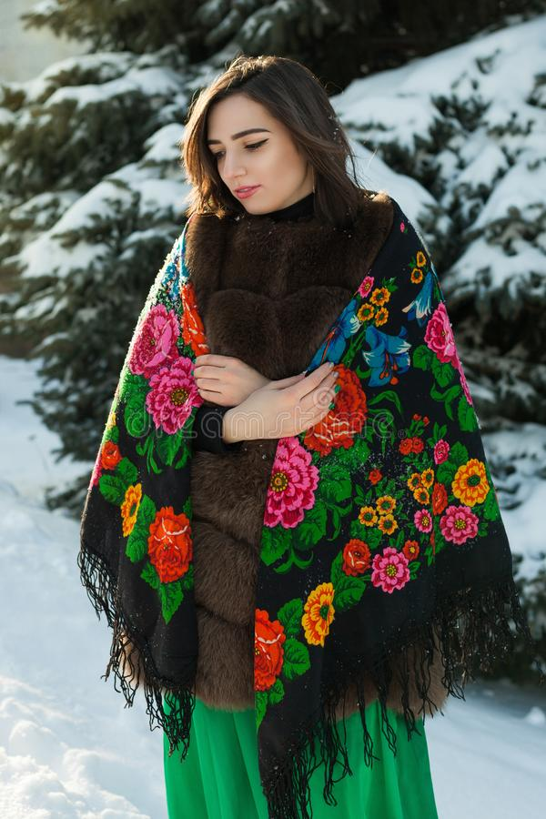 Russian beauty is thinking in the winter forest. stock images