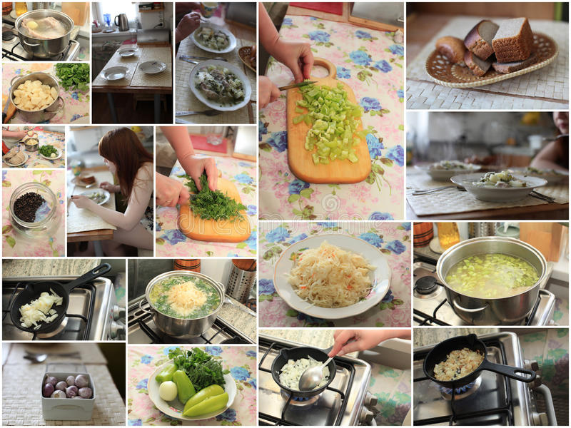 Russian cabbage soup cooking royalty free stock photography