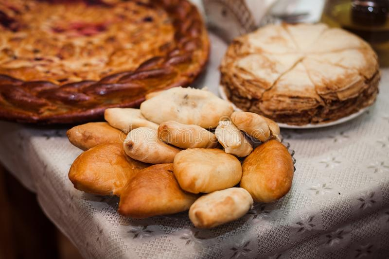 Russian cakes close-up. royalty free stock photo