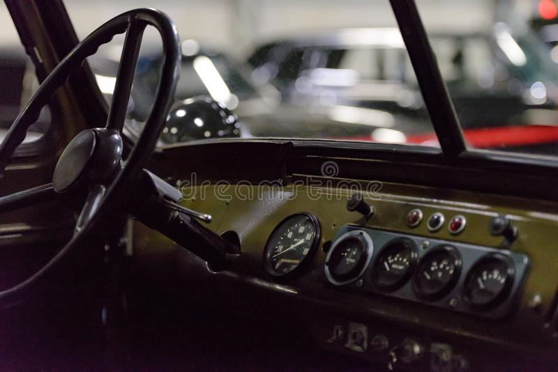 Russian car. Simple and concise. Soviet military SUV. Military off-road vehicle royalty free stock photos