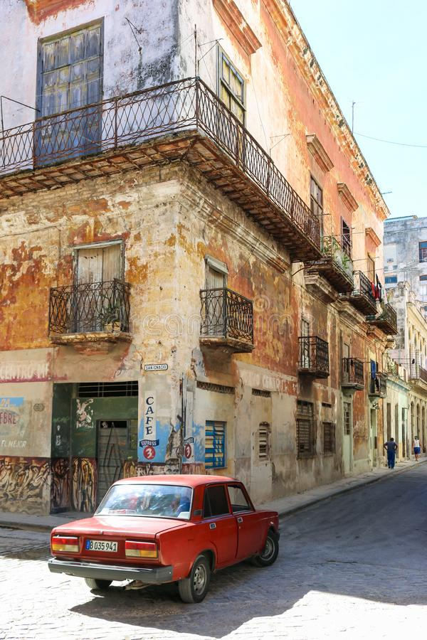 Russian car on the street, Cuba, Havana stock images