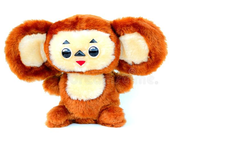 Russian cartoon character Cheburashka. Cute russian cartoon character Cheburashka on isolated white background. soft toy - Cheburashka royalty free stock images