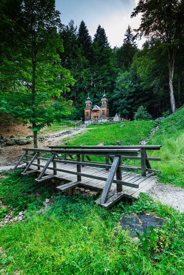 Free Russian Chapel In Vrsic Pass, Julian Alps, Slovenia Stock Photo - 96214350