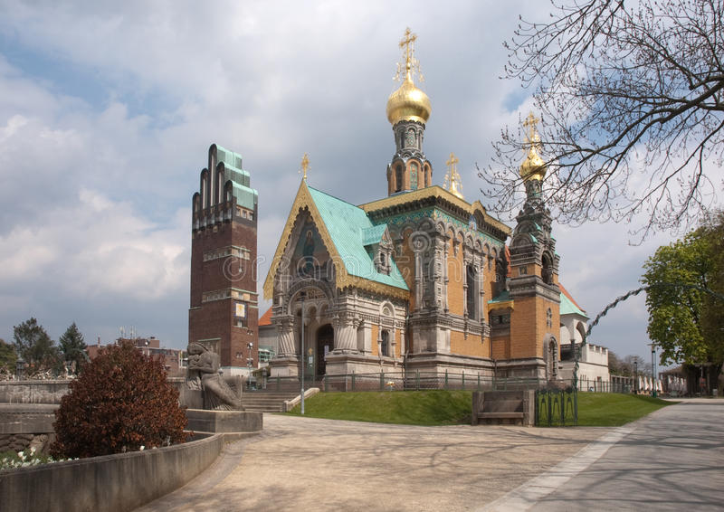 Russian chapel and jugendstil tower. Side view of the Russian chapel and jugendstil tower in the inner city of Darmstadt in Germany stock photos