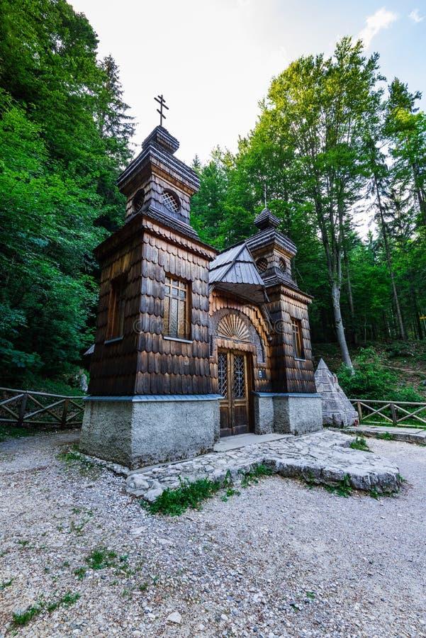 Russian chapel in Vrsic pass, Julian Alps, Slovenia.  stock photos