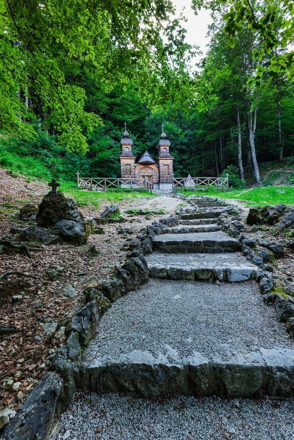 Russian chapel in Vrsic pass, Julian Alps, Slovenia.  stock image